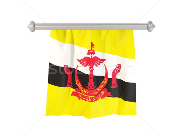 Vlag Brunei geïsoleerd witte 3d illustration label Stockfoto © MikhailMishchenko