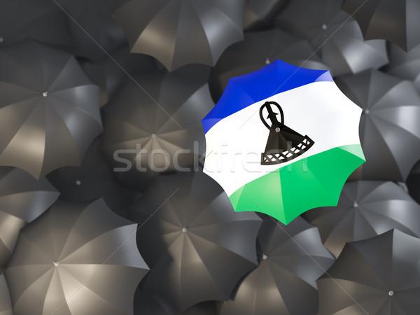 Parapluie pavillon Lesotho haut noir parapluies Photo stock © MikhailMishchenko