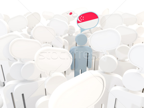Homme pavillon Singapour foule 3d illustration signe Photo stock © MikhailMishchenko