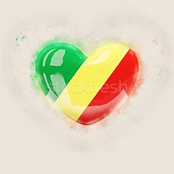 Kalp bayrak cumhuriyet Kongo grunge 3d illustration Stok fotoğraf © MikhailMishchenko