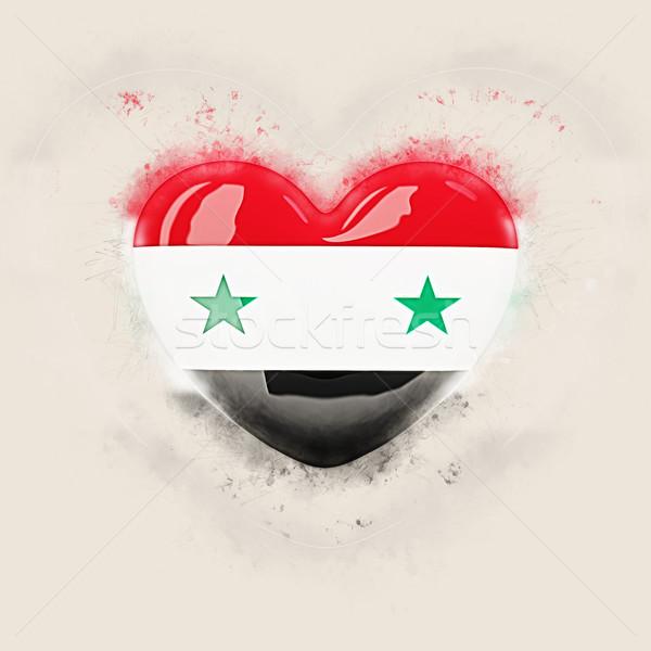 Hart vlag Syrië grunge 3d illustration reizen Stockfoto © MikhailMishchenko