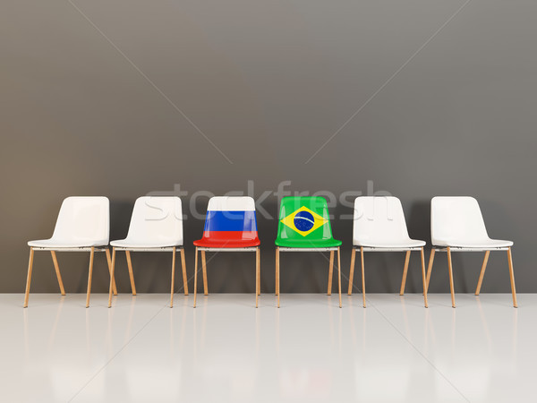 Chairs with flag of Russia and brazil Stock photo © MikhailMishchenko