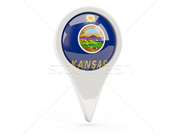 Round flag pin with flag of kansas. United states local flags Stock photo © MikhailMishchenko