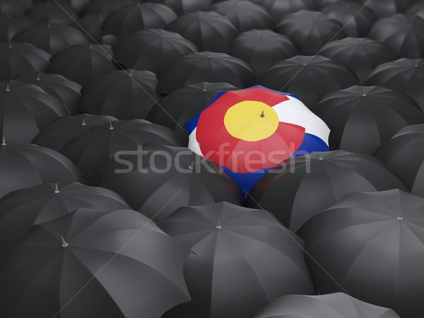 Foto stock: Colorado · bandeira · guarda-chuva · Estados · Unidos · local · bandeiras