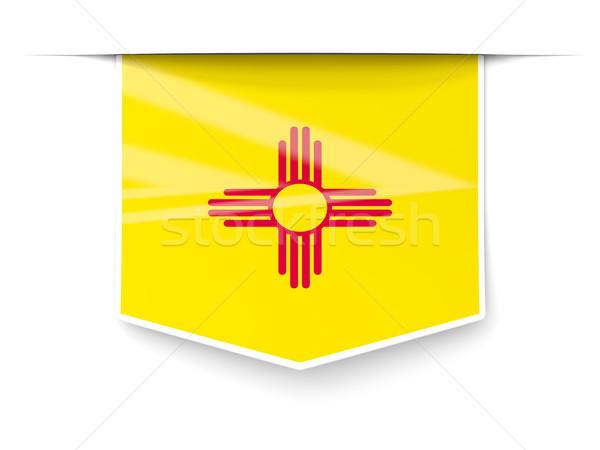 Нью-Мексико флаг квадратный Label тень Соединенные Штаты Сток-фото © MikhailMishchenko