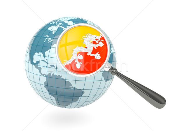 Vlag Bhutan Blauw wereldbol geïsoleerd Stockfoto © MikhailMishchenko