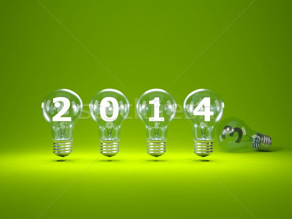 2014 New Year sign inside light bulbs Stock photo © MikhailMishchenko