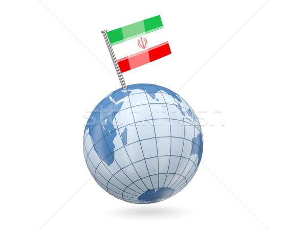 Globo bandeira Irã azul isolado branco Foto stock © MikhailMishchenko