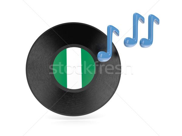 Winylu dysku banderą Nigeria odizolowany biały Zdjęcia stock © MikhailMishchenko