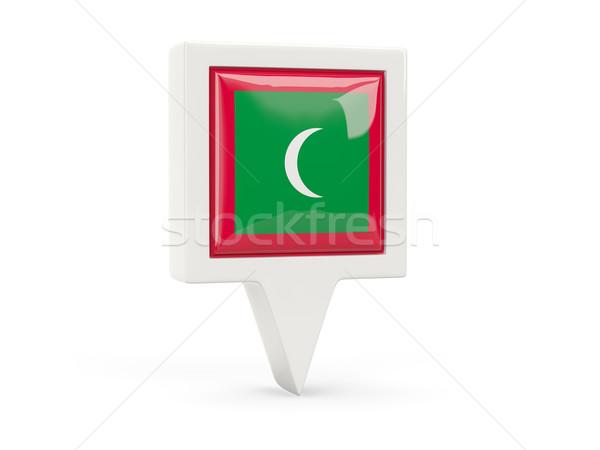 Kare bayrak ikon Maldivler yalıtılmış beyaz Stok fotoğraf © MikhailMishchenko