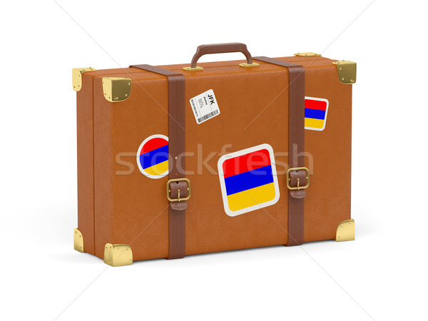 Mala bandeira Armênia viajar isolado branco Foto stock © MikhailMishchenko