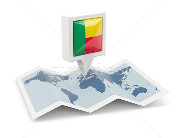 квадратный Pin флаг Бенин карта путешествия Сток-фото © MikhailMishchenko
