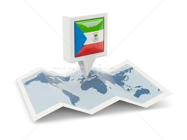 Square pin with flag of equatorial guinea on the map Stock photo © MikhailMishchenko