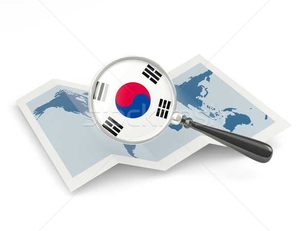 Magnified flag of south korea with map Stock photo © MikhailMishchenko