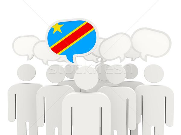 Menschen Flagge demokratischen Republik Kongo isoliert Stock foto © MikhailMishchenko