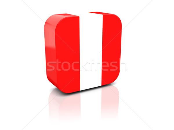 Cuadrados icono bandera Perú reflexión blanco Foto stock © MikhailMishchenko
