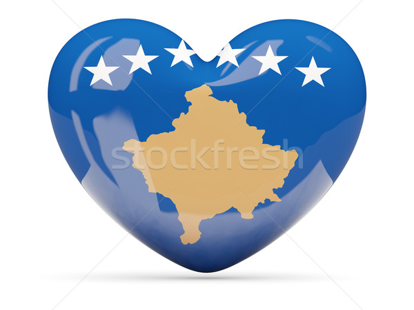 Coração ícone bandeira Kosovo isolado Foto stock © MikhailMishchenko