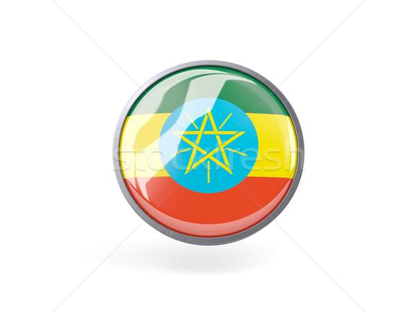 Ikona banderą Etiopia metal ramki podróży Zdjęcia stock © MikhailMishchenko