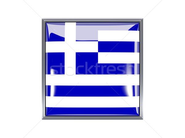 Carré icône pavillon Grèce métal cadre Photo stock © MikhailMishchenko