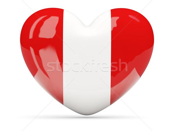Coração ícone bandeira Peru isolado Foto stock © MikhailMishchenko