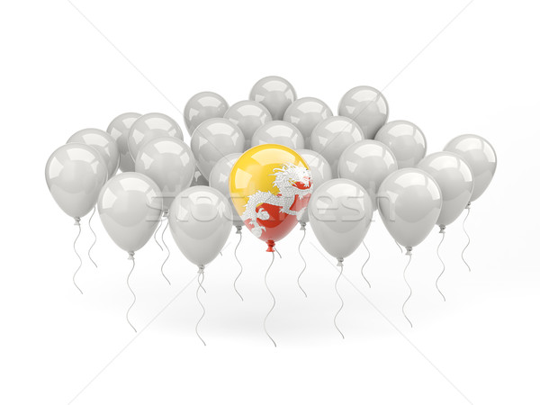 Lucht ballonnen vlag Bhutan geïsoleerd witte Stockfoto © MikhailMishchenko