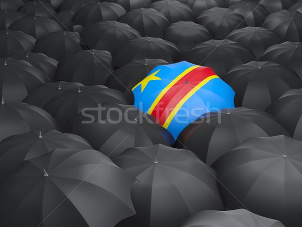 Parasol banderą demokratyczny republika Congo czarny Zdjęcia stock © MikhailMishchenko