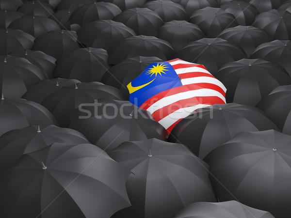 şemsiye bayrak Malezya siyah yağmur Stok fotoğraf © MikhailMishchenko