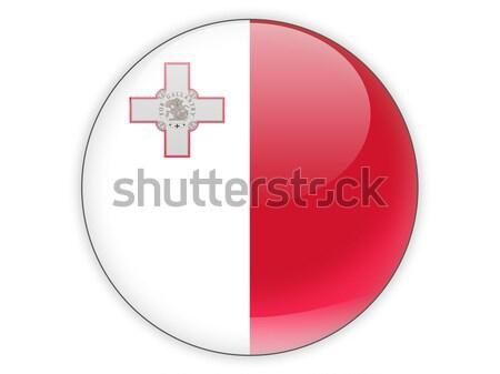 Stockfoto: Vierkante · sticker · vlag · Malta · geïsoleerd · witte