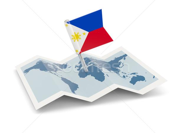 ストックフォト: 地図 · フラグ · フィリピン · 孤立した · 白
