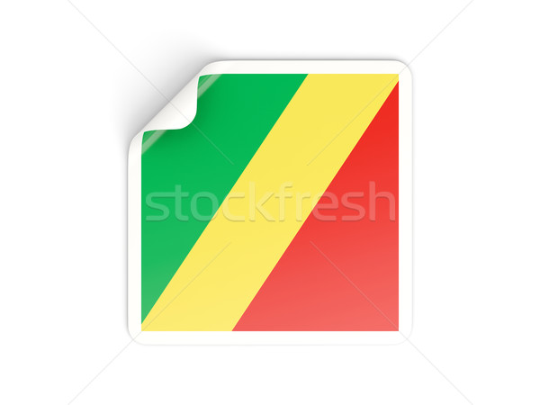 Kare etiket bayrak cumhuriyet Kongo yalıtılmış Stok fotoğraf © MikhailMishchenko