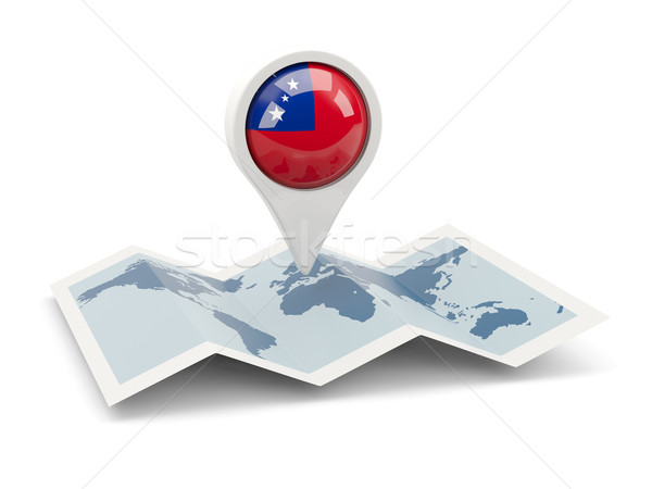 Pin bandeira Samoa mapa viajar branco Foto stock © MikhailMishchenko