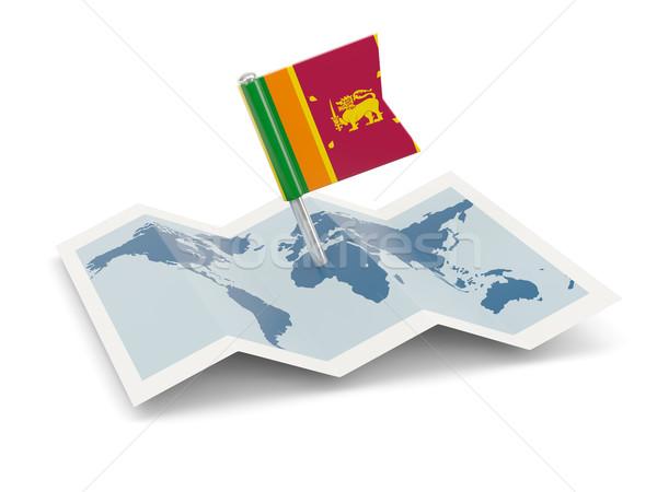 Térkép zászló Sri Lanka izolált fehér Stock fotó © MikhailMishchenko