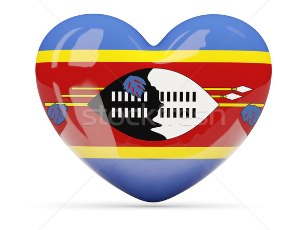 Heart shaped icon with flag of swaziland Stock photo © MikhailMishchenko