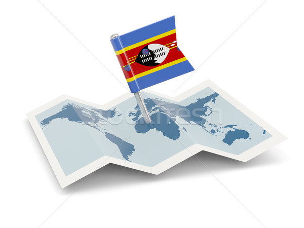 Kaart vlag Swaziland geïsoleerd witte Stockfoto © MikhailMishchenko