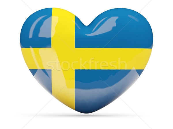 Serca ikona banderą Szwecja odizolowany Zdjęcia stock © MikhailMishchenko