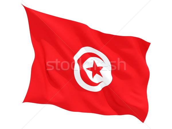 Bandeira Tunísia isolado branco Foto stock © MikhailMishchenko