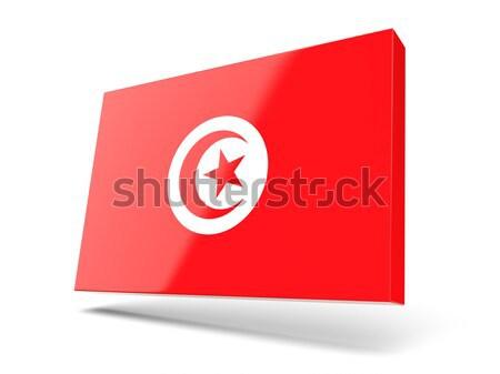 квадратный наклейку флаг Тунис изолированный белый Сток-фото © MikhailMishchenko