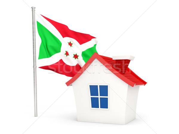 Casa bandeira Burundi isolado branco casa Foto stock © MikhailMishchenko