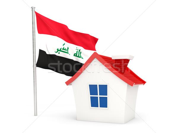 Casa bandeira Iraque isolado branco casa Foto stock © MikhailMishchenko