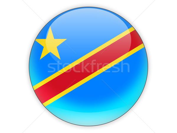 Icône pavillon démocratique république Congo isolé Photo stock © MikhailMishchenko