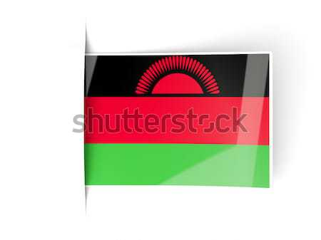 Vierkante label vlag Malawi geïsoleerd witte Stockfoto © MikhailMishchenko