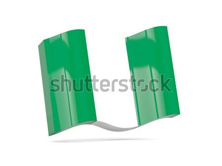 Kare etiket bayrak Nijerya yalıtılmış beyaz Stok fotoğraf © MikhailMishchenko