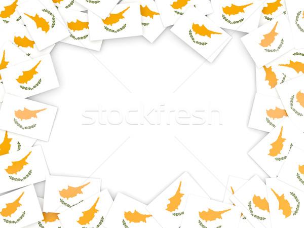 Frame vlag Cyprus geïsoleerd witte Stockfoto © MikhailMishchenko