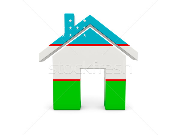 Otthon zászló Üzbegisztán izolált fehér vidék Stock fotó © MikhailMishchenko