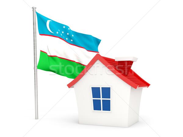 Ház zászló Üzbegisztán izolált fehér otthon Stock fotó © MikhailMishchenko