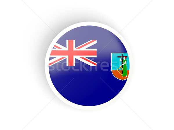 Round sticker with flag of montserrat Stock photo © MikhailMishchenko
