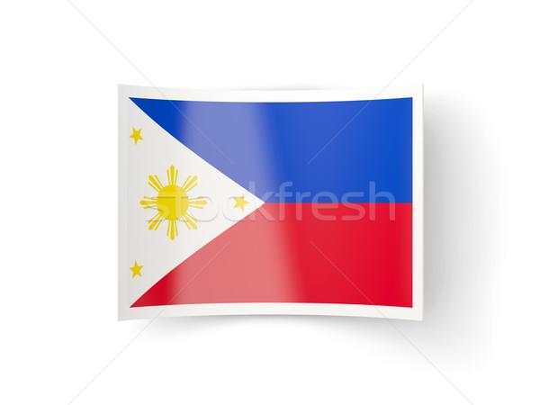 ícone bandeira Filipinas isolado branco país Foto stock © MikhailMishchenko