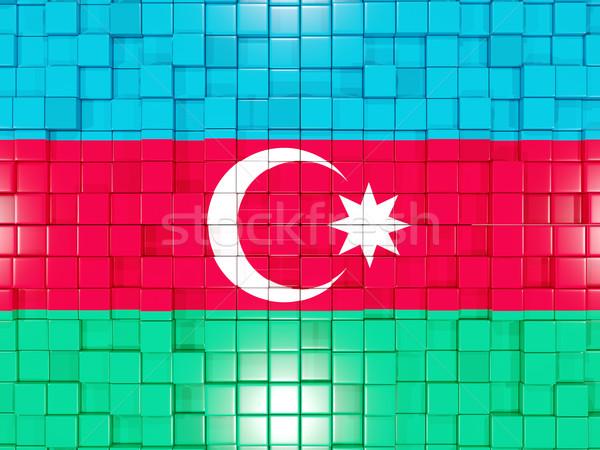 квадратный флаг Азербайджан 3D мозаика Сток-фото © MikhailMishchenko