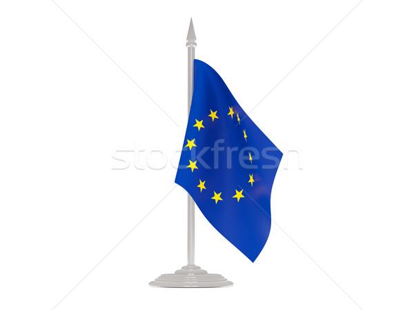 Pavillon européenne Union mât rendu 3d isolé Photo stock © MikhailMishchenko