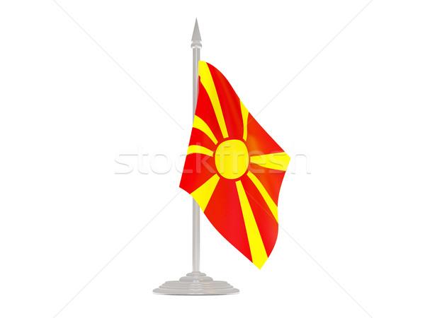 Vlag Macedonië vlaggestok 3d render geïsoleerd witte Stockfoto © MikhailMishchenko